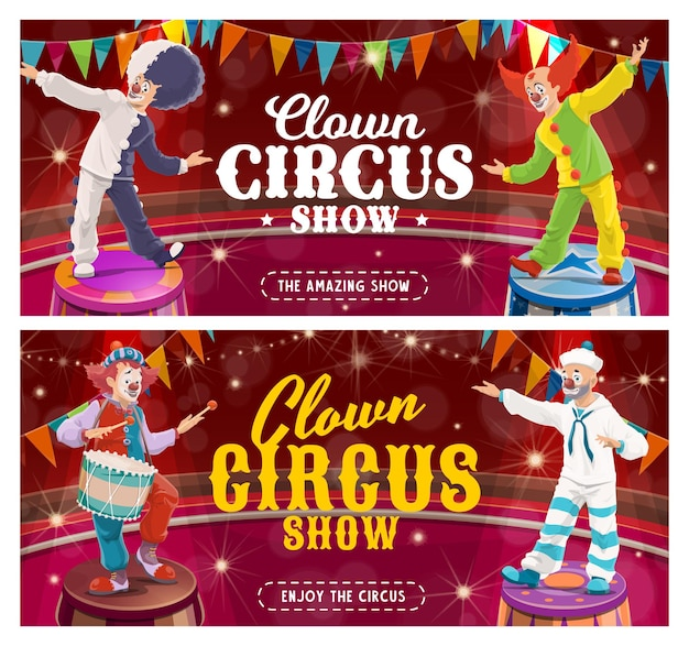 Zirkusclown-cartoon-banner des karnevals zeigen joker-charaktere auf der zirkusarena