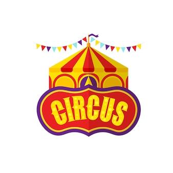 Zirkushandbeschriftungstext mit modernem zirkuszelt.