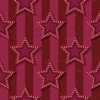 Zirkuskarneval retro-vintage leuchtende neonsterne nahtlose muster. zirkusart zeigen strukturierte altmodische retro-grafikschablone. vektorhintergrundfliese. für partys, geburtstage, dekorationselemente.