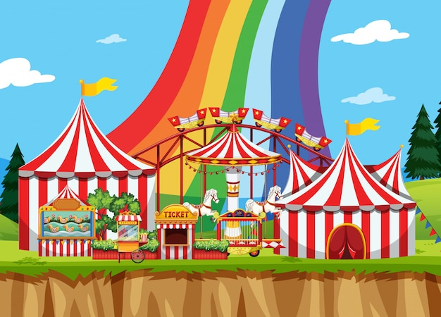 Zirkusszene mit regenbogen im himmel