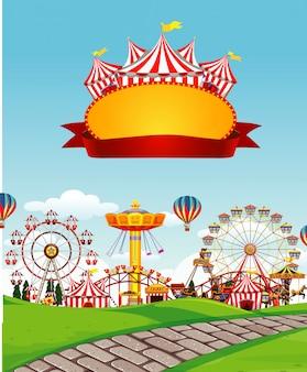 Zirkusszene mit zeichenschablone im himmel