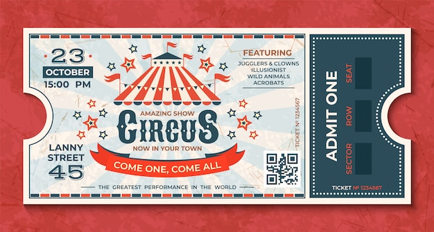 Zirkustickets. retro-luxus-gutschein der weinlese-karnevalsveranstaltung mit festzelt und partyansage. zirkus luxus grußkarte