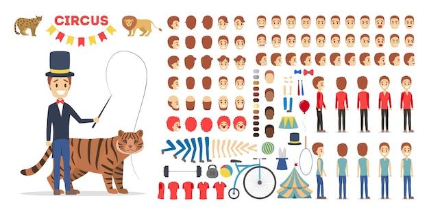 Zirkustrainer-zeichensatz für die animation mit verschiedenen ansichten