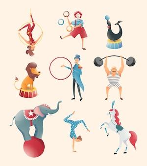 Zirkusvorstellungen von akrobaten mit tieren