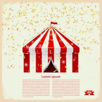 Zirkuszelt mit goldkonfettis auf einem retro- hintergrund mit textschablone. vektor-illustration