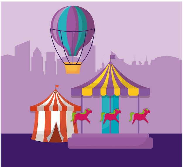 Zirkuszelt mit karussell und heißluftballon