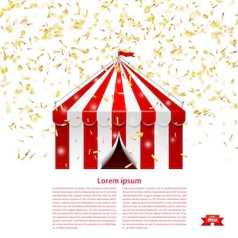 Zirkuszelt unter einem konfettiregen.