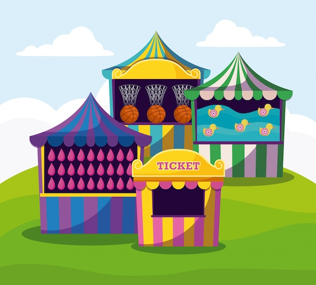 Zirkuszelte mit girlanden lokalisierten ikone