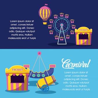 Zirkuszeltverkaufskarte mit gesetzten ikonen