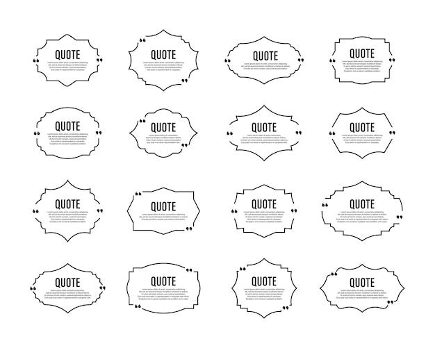 Zitat box frames set zitat sprechblasen text in anführungszeichen