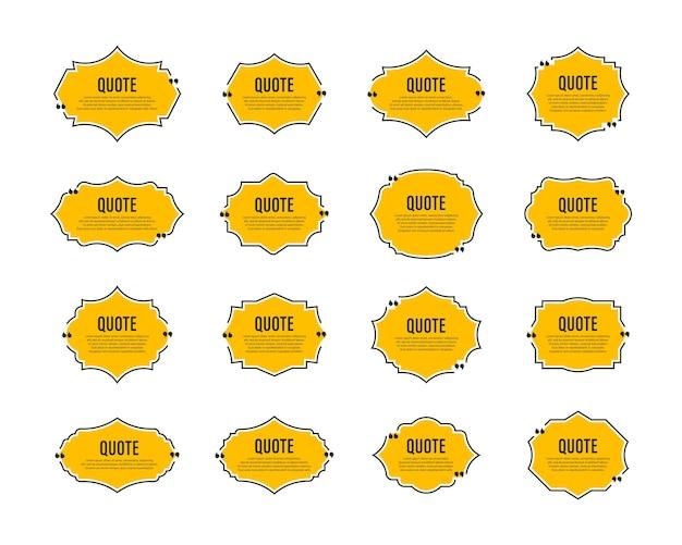 Zitat-box-rahmen gesetzt zitat-sprechblasentext in anführungszeichen