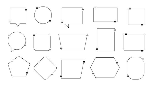 Zitat-box-set. kastenrahmen zitieren. moderne vorlagen zitieren mit platz für text. vektor-illustration.