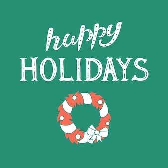 Zitat frohe feiertage weihnachtskranz vektor-illustration poster druck kartendesign
