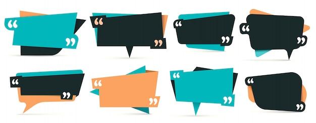 Zitat in anführungszeichen. bemerkungsrahmen, rahmen für idee und angebotsvorlagensatz