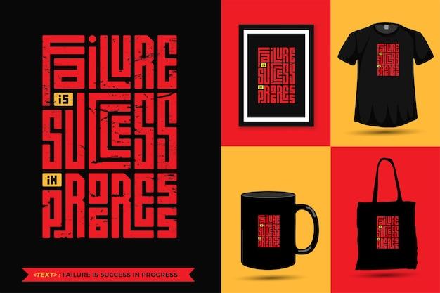 Zitat inspiration t-shirt-fehler ist ein erfolgreicher fortschritt für den druck. vertikale entwurfsschablone der modernen typografiebeschriftung