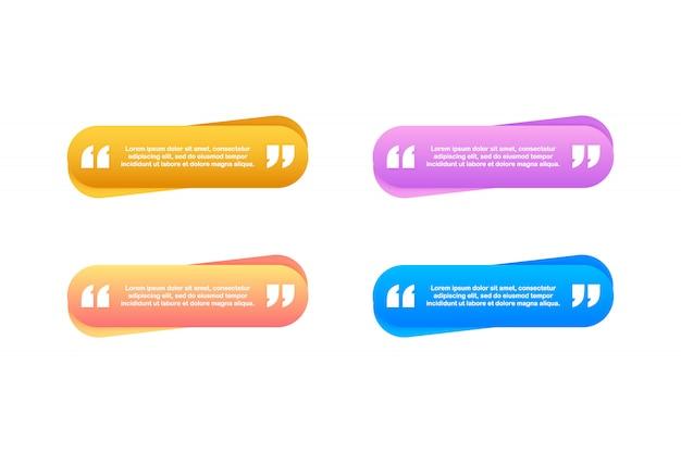 Zitat. kreative moderne materialdesign-zitatschablone. illustration.