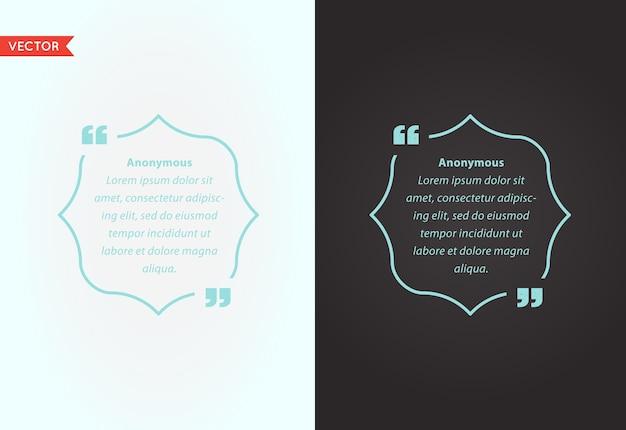 Zitat vorlage blase. template quote set. trendige farben.