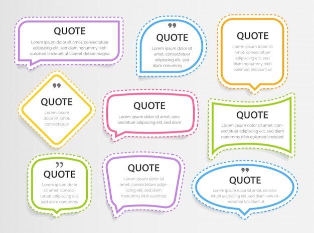 Zitieren sie bunte 3d-rahmentextfelder leere vorlage mit druckinformationsdesignzitaten, aufklebern, illustration