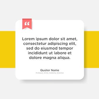 Zitieren sie die vorlage mit dem textplatzhalter im trendigen papierstil