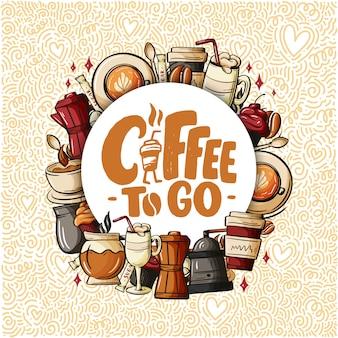Zitieren sie kaffeetasse typografie. zitat im kalligraphiestil.