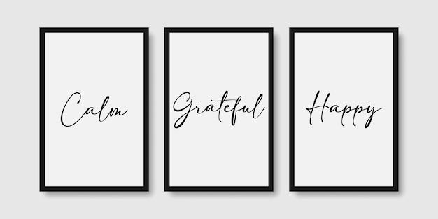 Zitieren sie ruhig, dankbar, glücklich, wandkunst-poster-set