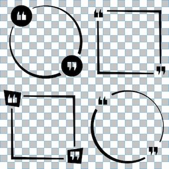Zitieren sie sprachblasenschablonensatz. zitate bilden, sprachbox isoliert auf transparentem hintergrund. vektorillustration