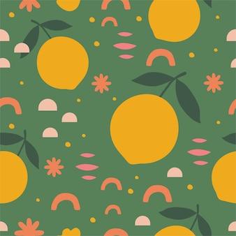 Zitrone abstraktes nahtloses muster im vektor zum einwickeln von papierkarten, textil und mehr