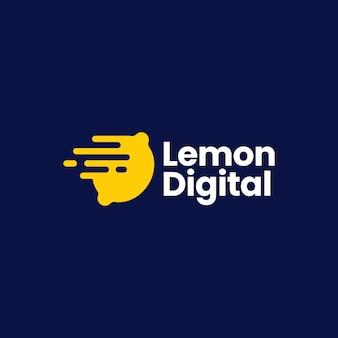 Zitrone digitale schnelle dash schnelle lieferung logo vektor icon illustration
