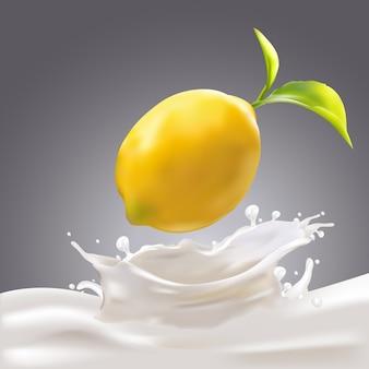 Zitrone fiel in milchillustration