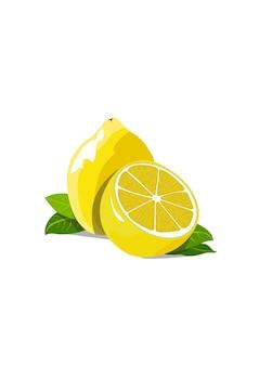 Zitrone ganz und halbiert mit grünen blättern