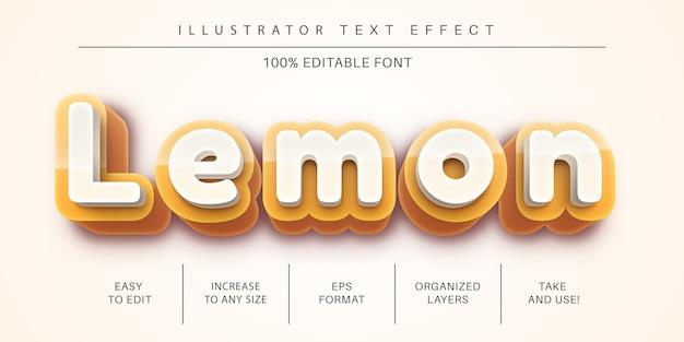 Zitrone, gelber bearbeitbarer texteffekt, schriftstil