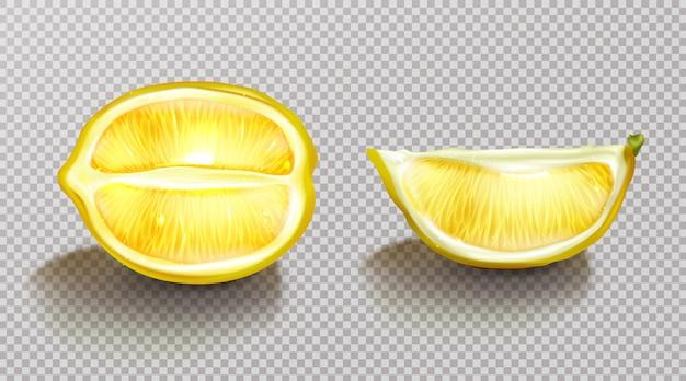 Zitrone, geschnittene zitrusfrüchte mit dem schatten realistisch