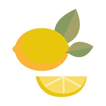 Zitrone in einem schnitt und ganz auf einem weißen hintergrund isoliert vektor-illustration