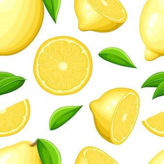 Zitrone mit ganzen blättern und zitronenscheiben. nahtlose illustration. illustration für dekoratives plakat, emblem-naturprodukt, bauernmarkt.