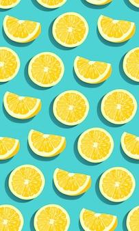 Zitrone trägt nahtloses muster der scheibe früchte