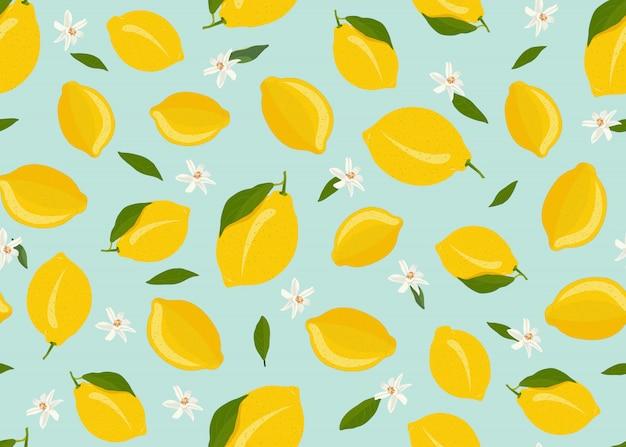 Zitrone trägt nahtloses muster mit blume und blättern früchte