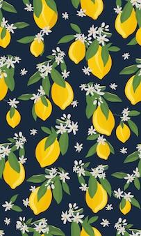 Zitrone trägt nahtloses muster mit blumen und blättern früchte
