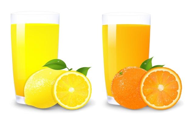 Zitrone und orangensaft und orangenscheiben mit farbverlaufsnetz, lokalisiert auf weißem hintergrund