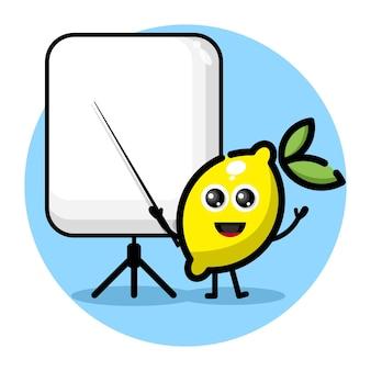 Zitrone wird zu einem süßen charakterlogo des lehrers