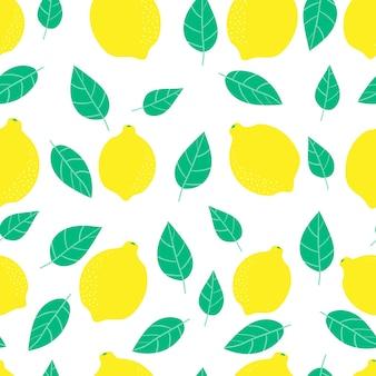 Zitrone zitrus saftiges nahtloses muster orange süßes gelbes muster helle fruchttextur zum drucken