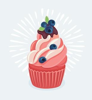 Zitronen-blaubeer-cupcakes mit frischkäse-zuckerguss mit frischen blaubeeren, die an einem sonnigen tag auf einem holztisch eingefangen wurden.