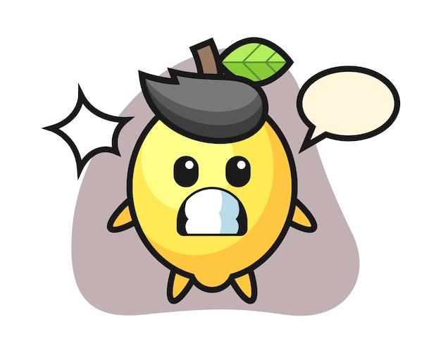 Zitronen-charakter-karikatur mit schockierter geste