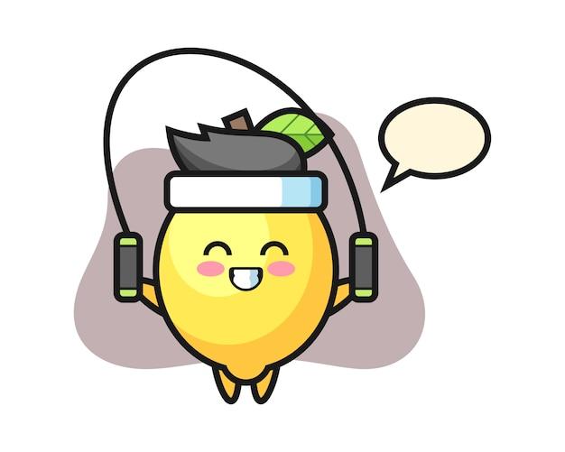 Zitronen-charakter-karikatur mit springseil