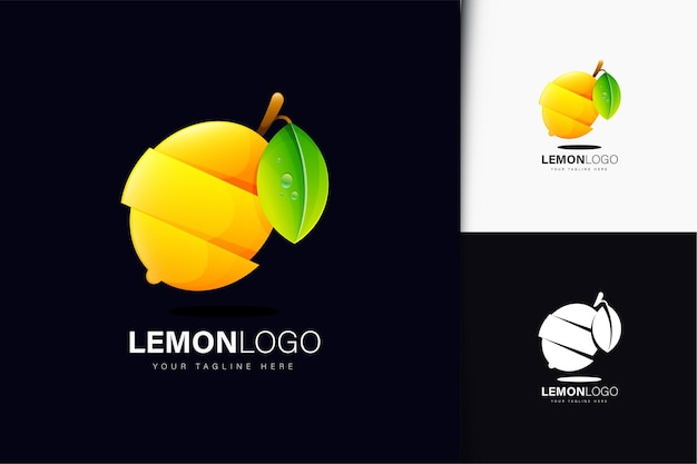 Zitronen-logo-design mit farbverlauf