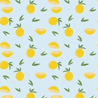 Zitronen- und blättermuster auf blauem hellem hintergrund. vektor-illustration.