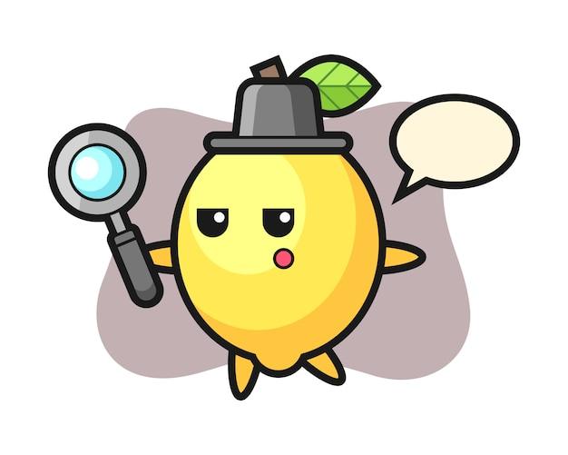 Zitronen-zeichentrickfigur, die mit einer lupe sucht