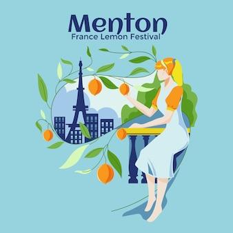 Zitronenfest in menton. mittelwert: france lemon festival an der französischen riviera