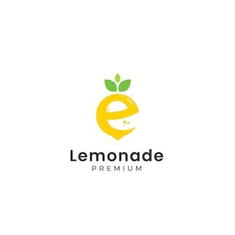 Zitronenförmiges buchstabe e-logo mit text unter der vorlage