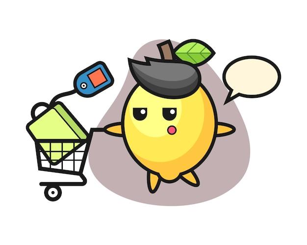 Zitronenillustrationskarikatur mit einem einkaufswagen