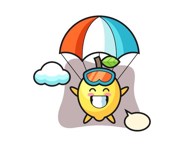Zitronenmaskottchen-karikatur ist fallschirmspringen mit glücklicher geste